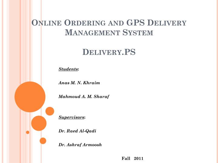 online ordering and gps delivery management system delivery ps n.