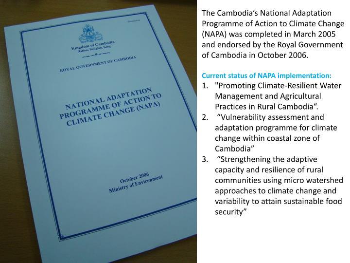 The Cambodia's National Adaptation