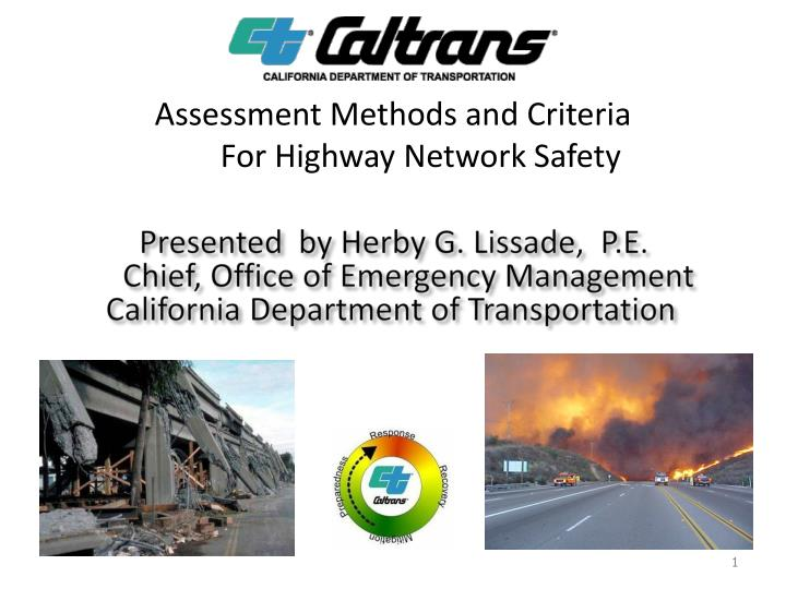 assessment methods and criteria for highway network safety n.