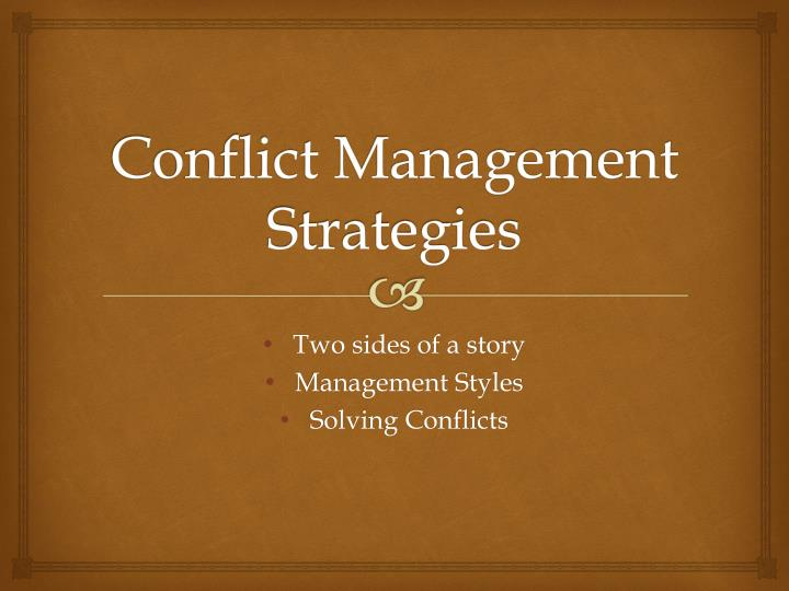 conflict management strategies n.