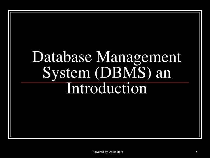 database management system dbms an introduction n.