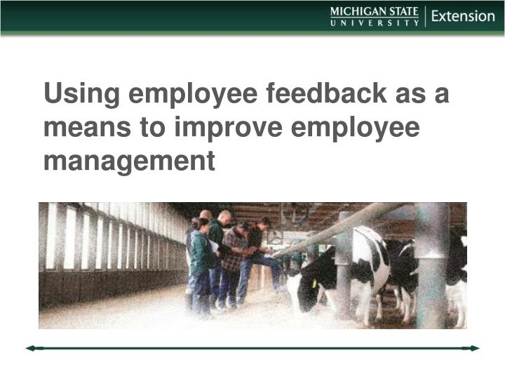 using employee feedback as a means to improve employee management n.