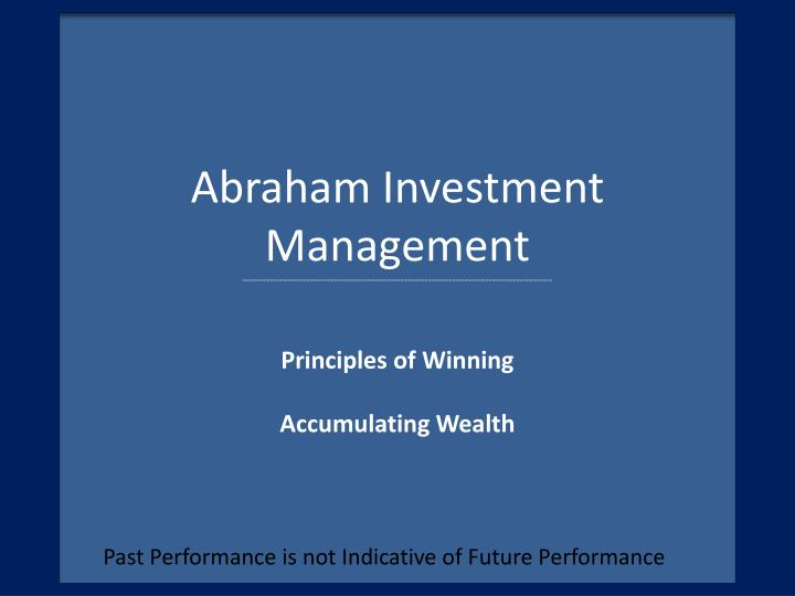 past performance is not indicative of future performance n.