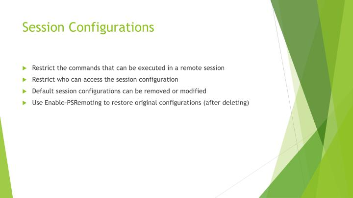Session Configurations