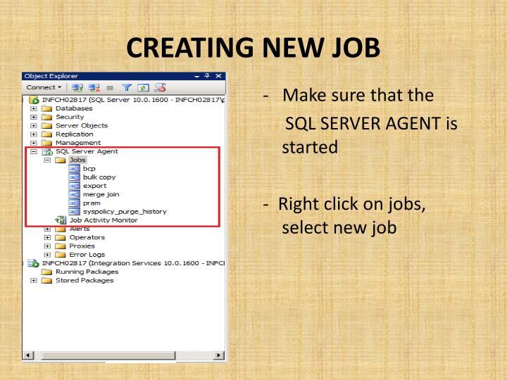 Creating new job