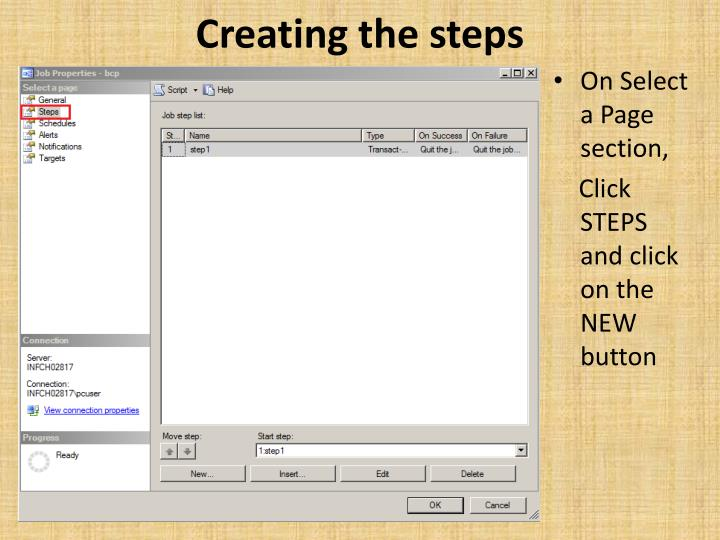 Creating the steps