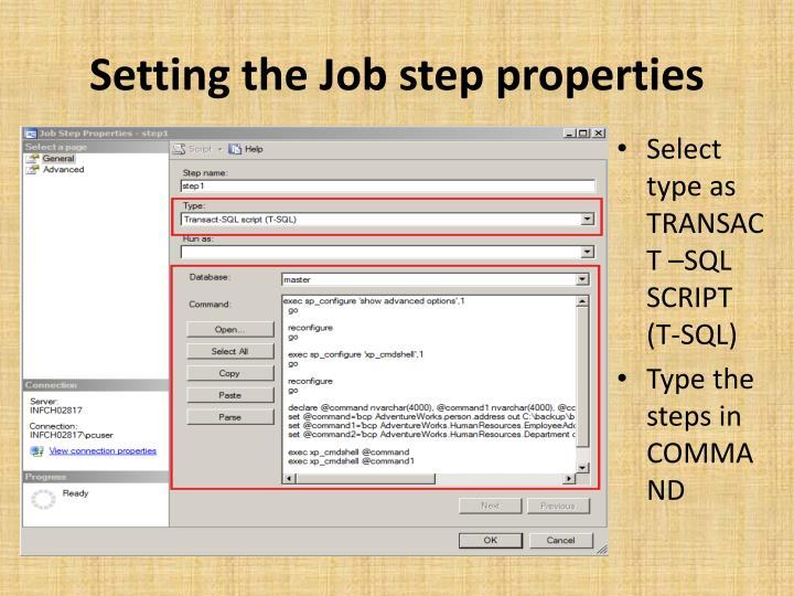 Setting the Job step properties