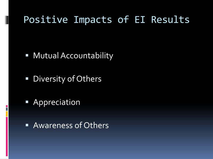 Positive Impacts of EI Results