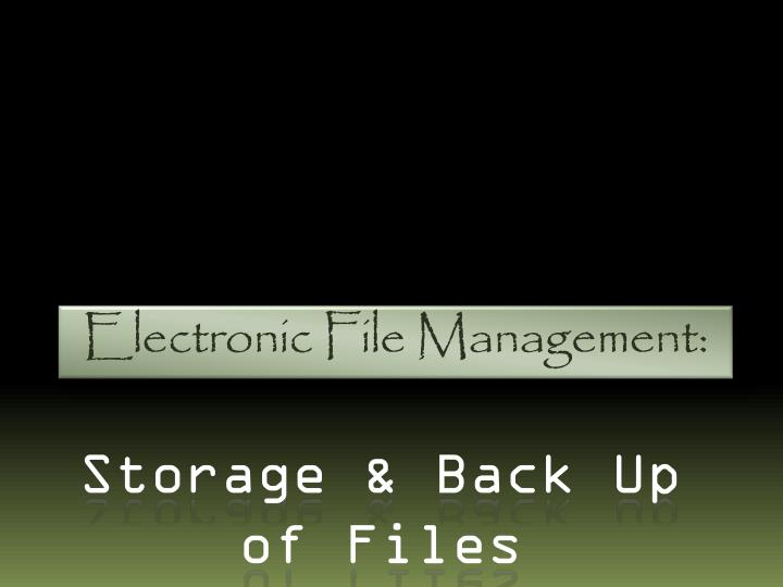 electronic file management n.