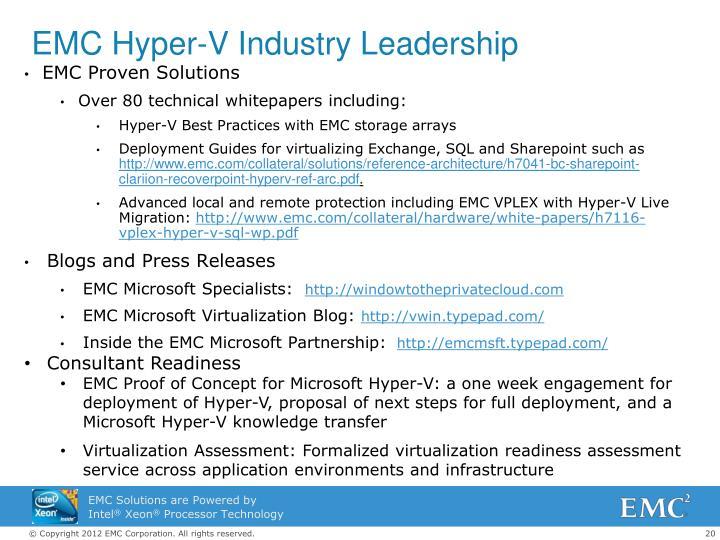 EMC Hyper-V Industry Leadership