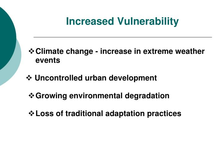 Climate change - increase in extreme weather events