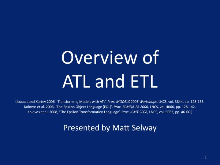 overview of atl and etl n.