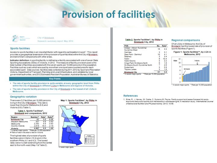 Provision of facilities