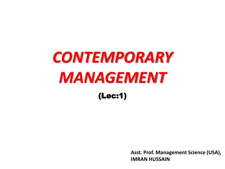 contemporary management n.