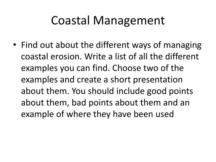 coastal management n.