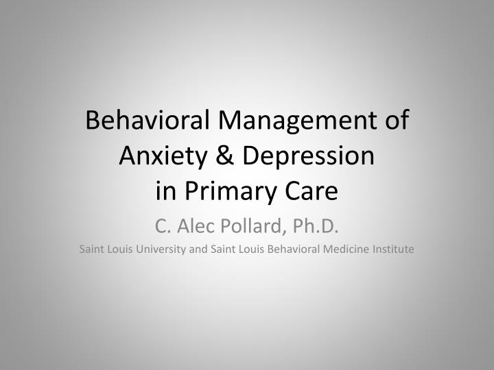 behavioral management of anxiety depression in primary care n.