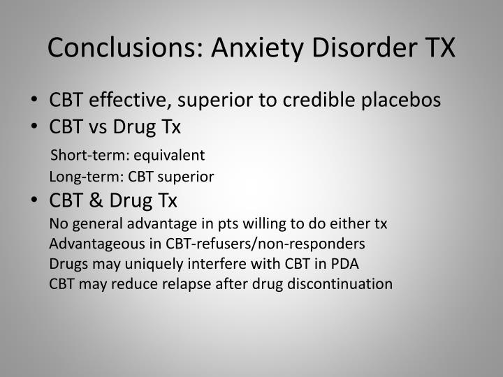 Conclusions: Anxiety