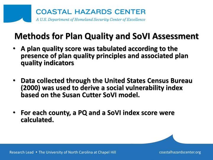 Methods for plan quality and sovi assessment