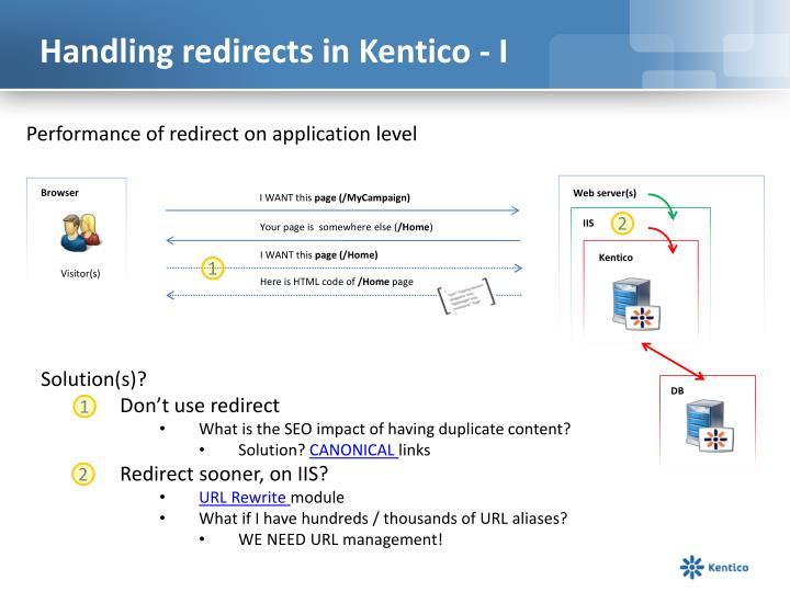 Handling redirects in Kentico - I