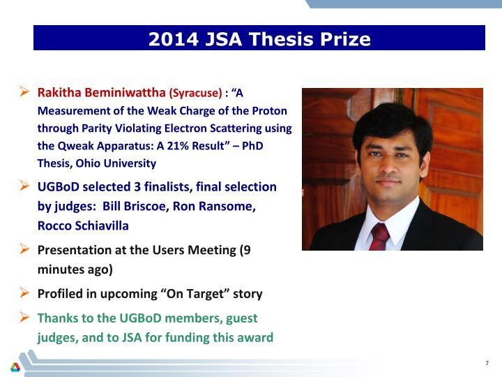 jsa thesis prize