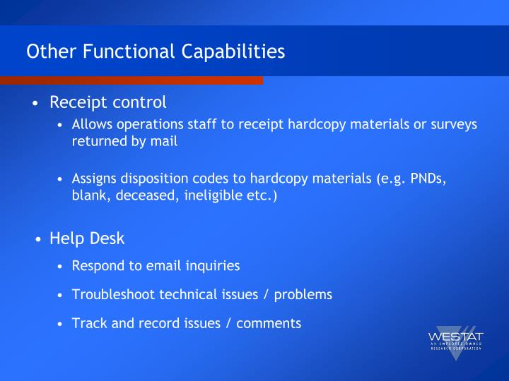 Other Functional Capabilities