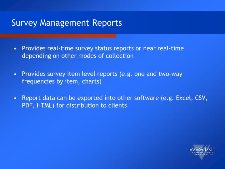 Survey Management Reports