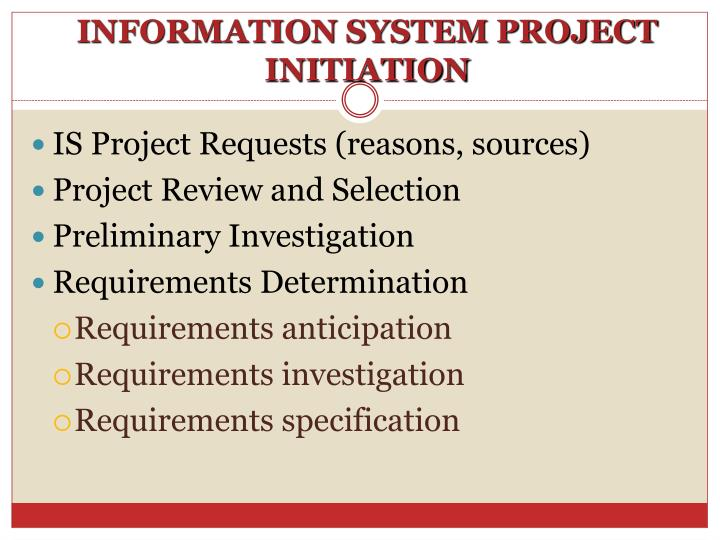 information system project initiation n.