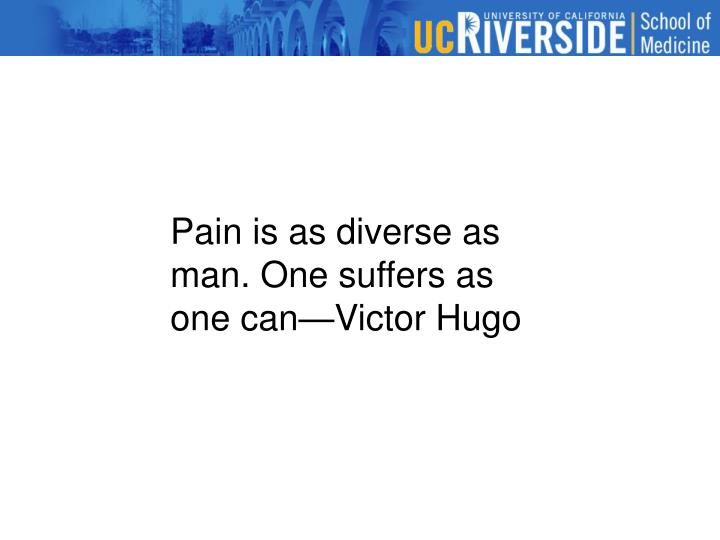 Pain is as diverse as man. One suffers as one can—Victor Hugo