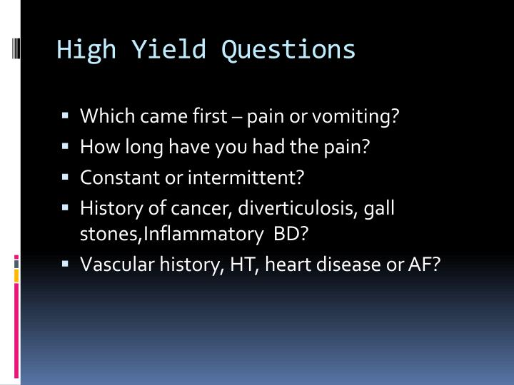 High Yield Questions