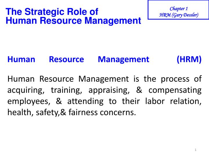 the strategic role of human resource management n.