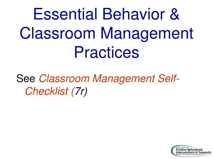 Essential Behavior & Classroom Management Practices