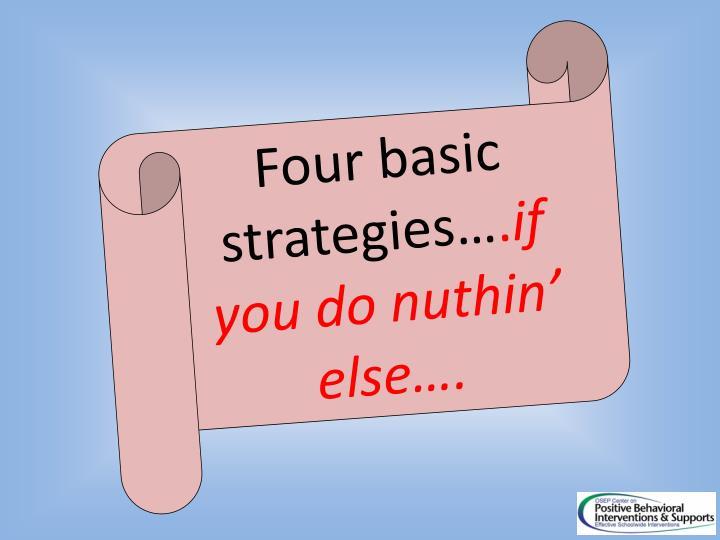 Four basic strategies…
