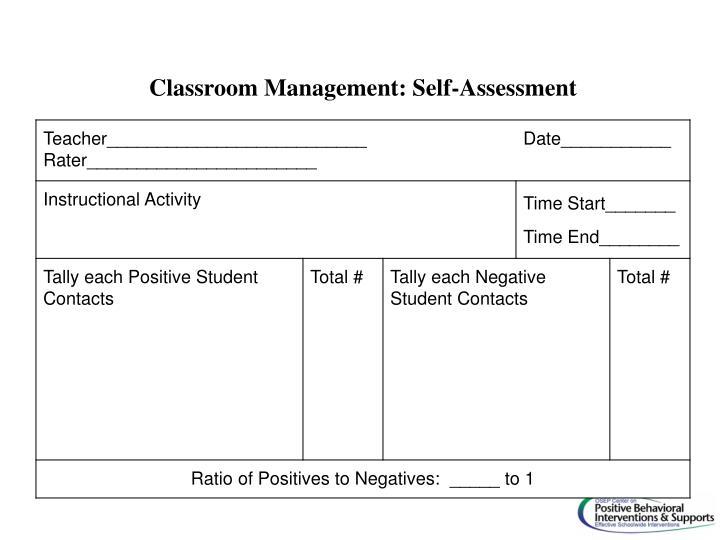 Classroom Management: Self-Assessment