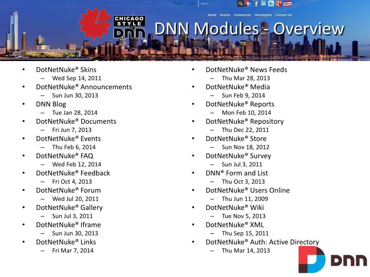 DNN Modules - Overview