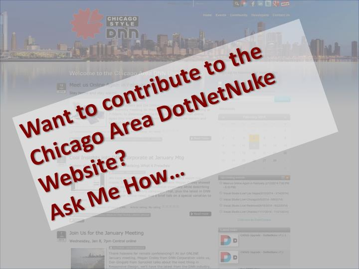 Want to contribute to the Chicago Area DotNetNuke Website?