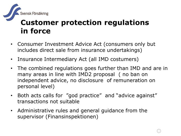 Customer protection regulations in force