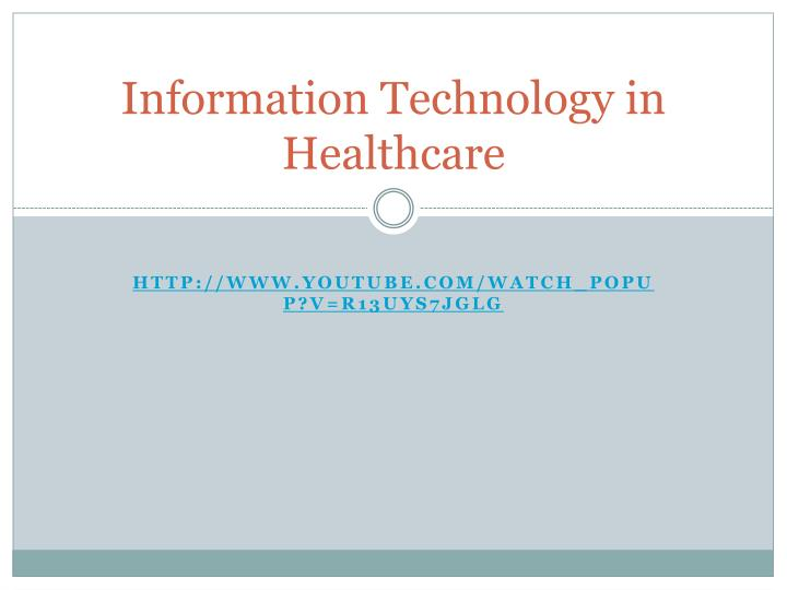 information technology in healthcare n.
