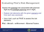 evaluating pilot s risk management