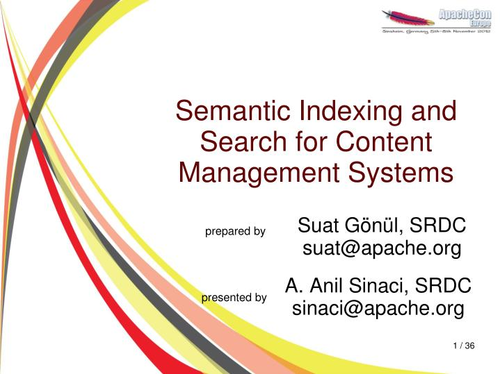 semantic indexing and search for content management systems n.