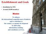 establishment and goals
