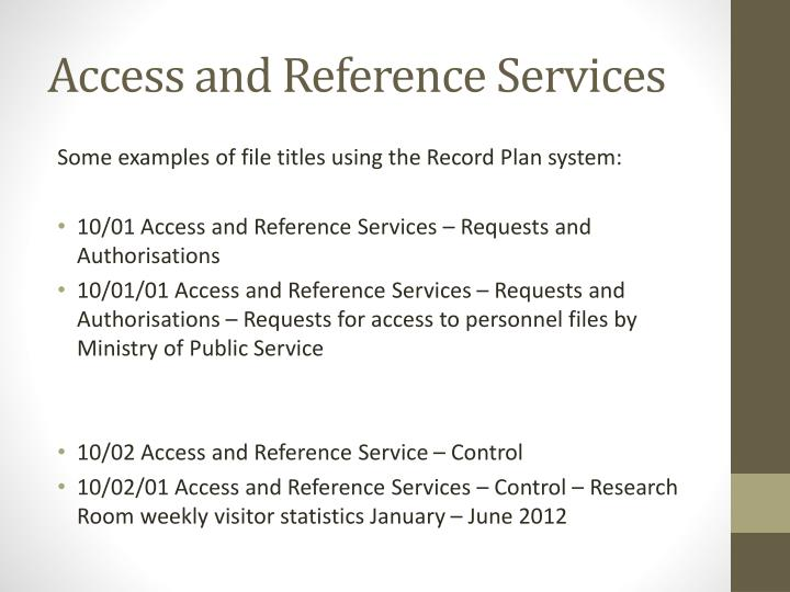 Access and Reference Services
