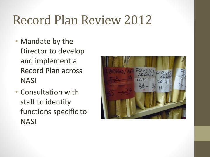 Record Plan Review 2012