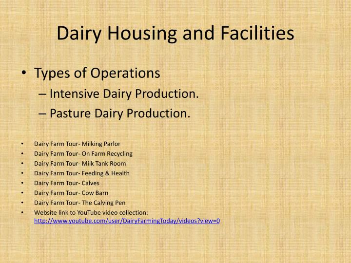 dairy housing and facilities n.