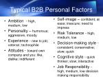 typical b2b personal factors