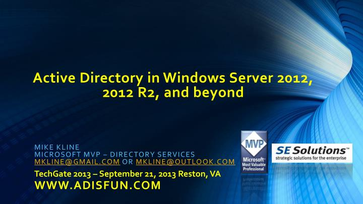 active directory in windows server 2012 2012 r2 and beyond n.