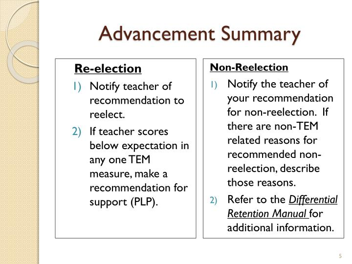 Advancement Summary