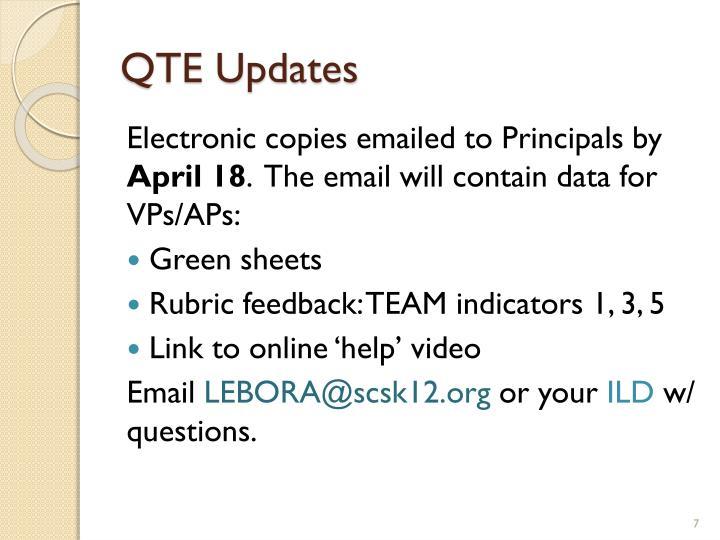QTE Updates