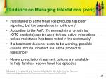 guidance on managing infestations cont