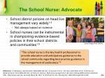 the school nurse advocate
