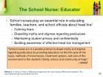 the school nurse educator